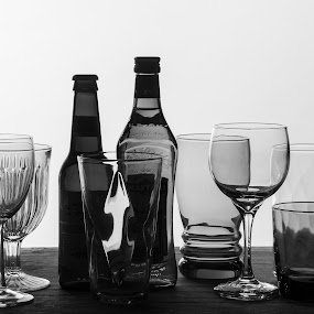 Glass Still Life #1 by Daniel Gorman - Black & White Objects & Still Life ( texture, still life, glass, translucent, shape,  )