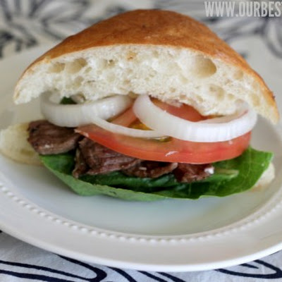 Sliced Steak and Brie Sandwich