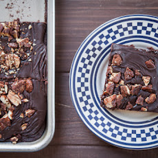 Tex Mex Sheet Cake (Texas Sheet Cake with Mexican Chocolate spices) with Sugar Spiced Pecans