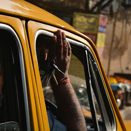 Key to Success by Dipa Chatterjee - City,  Street & Park  Street Scenes ( taxi, calcutta, driver, street scene, street photography )