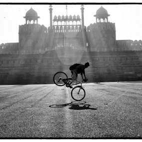 cycle man by Baidyanath Arya - Black & White Street & Candid ( lal quila )