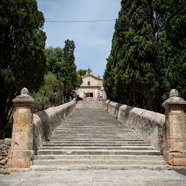 Stairs to church by Werner Booysen - Buildings & Architecture Other Exteriors ( stairs, church, stairway, pollenca, town, mallorca, werner booysen )