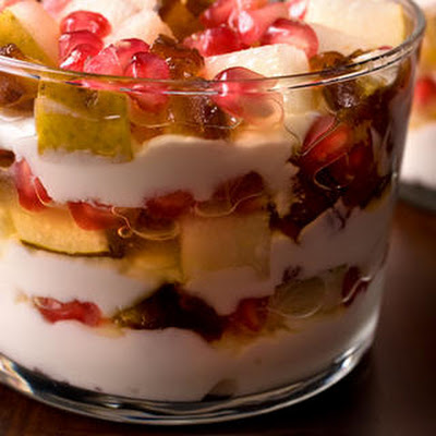 Yogurt Trifle with Pomegranate, Pear, and Dates