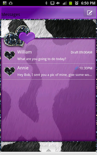 GO SMS - Purple Cow Hearts