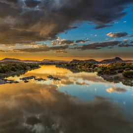Orange River by Clive Wright - Landscapes Sunsets & Sunrises ( water, orange, sunset, landscape, river )