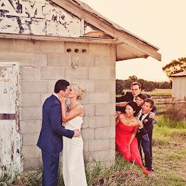 Peek-a-Boooo! by Alan Evans - Wedding Groups ( groomsmen, bridesmaids, wedding photography, wedding day, wedding, aj photography, hunter valley, bride and groom, rustic, hunter valley wedding photographer, rustic wedding )