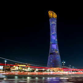The Torch Tower, Doha by Riaz Ahamed - City,  Street & Park  Skylines ( qatar )