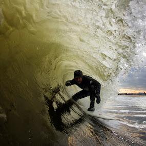 Stormy Tube Time by Dave Nilsen - Sports & Fitness Surfing
