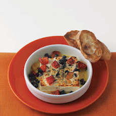 Roasted Feta with Olives and Red Peppers