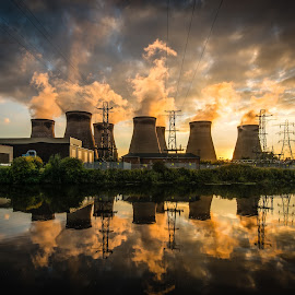 Power & Glory by Phil Gledhill - Buildings & Architecture Other Exteriors ( clouds, ferrybridge, castleford, rivers & canals, sunset / sunrise, power stations, architecture, places, landscapes, industry )
