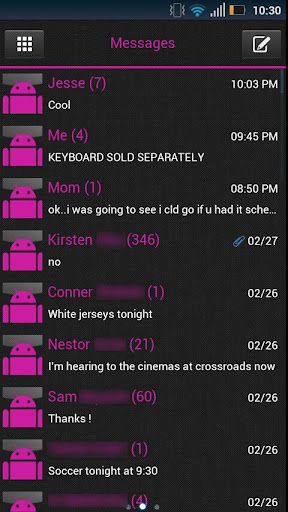 GO SMS Clean Pink Theme