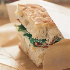 Focaccia with Havarti, Arugula and Eggplant Spread