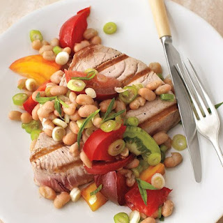 Tomato and Bean Salad with Grilled Tuna