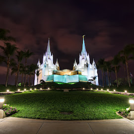 San Diego Temple by Eddie Yerkish - Buildings & Architecture Places of Worship ( clouds, building, church, grass, california, architecture, worship, nightscape, lights, palm, temple, mormon, religion, san diego, sky, trees, night, walkway, nikon, religious )