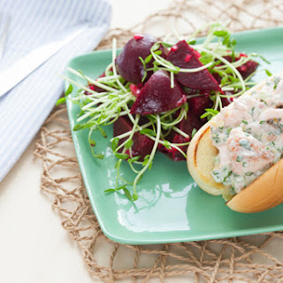 Salmon Roll Sandwiches with Baby Beet & Pea Shoot Salad