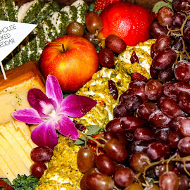 Fruit & Cheese by Karri Neves - Food & Drink Meats & Cheeses ( platter, grapes, food, fruits, cheese, apples, flower )