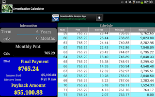 Screenshot of Amortization Calculator