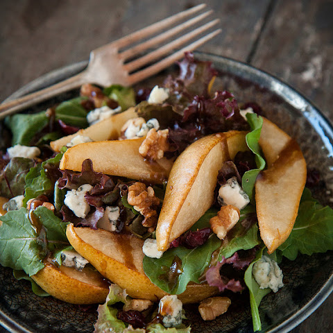 Roasted Pear and Gorgonzola Salad, with Balsamic Vinaigrette