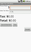 Screenshot of Sales Tax Calculator