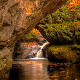 Pewits Nest by Kirk Schleife - Landscapes Waterscapes ( water, wisconsin, fall, falls, cave, nikon, rocks, river )