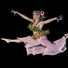 Pink Leap by Marie Otero - Sports & Fitness Other Sports ( model, female, belly dancer, pink, ballet, dance, dancer, leap )