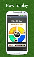 Screenshot of brain age test-simon