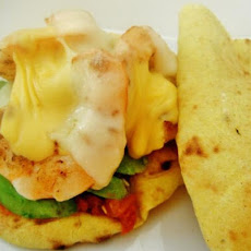 Curry Naan Open Faced Grilled Shrimp Sandwich