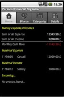 Screenshot of Personal Financial Organizer