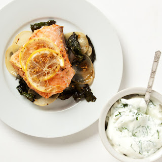 Salmon in Parchment Paper with Horseradish-Yogurt Sauce