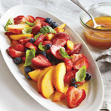 Strawberries, Peaches, and Basil with Orange Vinaigrette