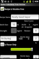 Screenshot of E Juice Calculator