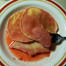 My Pancakes for One With Strawberry Syrup