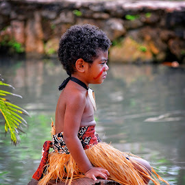 Young Fijian Warrior by Emily Harrison - Babies & Children Children Candids ( polynesian, waterscape, laie, fiji, boy, fijian warrior, hawaii )