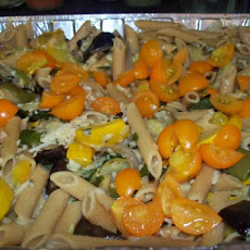 Penne With Eggplant, Zucchini, and Yellow Squash