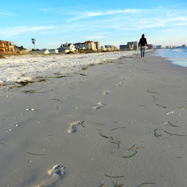 Footprints in the Sand by Kathy Rose Willis - Landscapes Beaches ( clearwater beach, wet sand, sand, footprints, walking, blue sky, florida, impression, white, gray', beach )