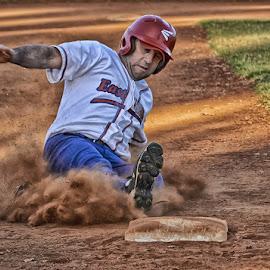 Slide to Third by Jim Merchant - Sports & Fitness Baseball ( baseball, base, slide )
