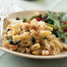 Penne with Pancetta, Spinach, and Buttery Crumb Topping