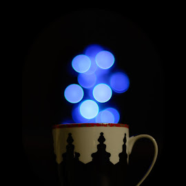 Hot Tea by Avtar Singh - Abstract Light Painting ( cup, avtarsingh, black and white, art, dark background, bokeh )