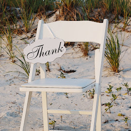 Chair On Dune by Robin Amaral - Artistic Objects Furniture ( sign, chair, sand, thank you, seaweed, white, dune grass, beach grass, beach, Chair, Chairs, Sitting )