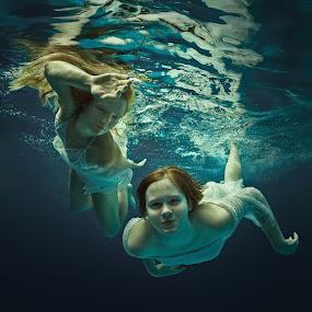 Cool. by Dmitry Laudin - People Portraits of Women ( girl, underwater, dress, woman, swim )