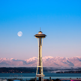 Needle Sunrise by Jeffery Hayes - City,  Street & Park  Skylines ( space needle, moon, mountains, sky, seattle, sunrise )