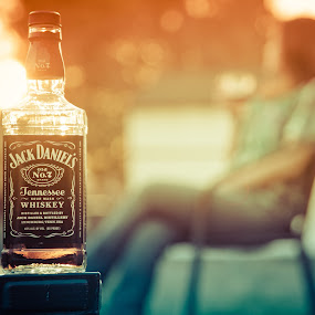 Weekend sip and set by Joseph Belcher - Food & Drink Alcohol & Drinks ( march, whiskey, sunset, drink, jack daniel's, stephane belcher, backyard, outside )