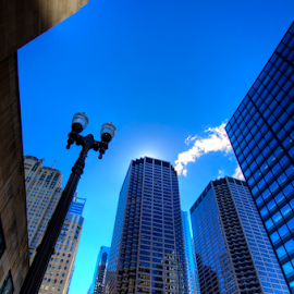 Really Tall Lamp by Sean Price - Buildings & Architecture Office Buildings & Hotels ( hdr, skyscraper, wide angle, perspective, chicago )