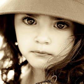 Soul seeing  by Darya Morreale - Babies & Children Child Portraits ( sepia, girl, soulful, portrait, eyes,  )