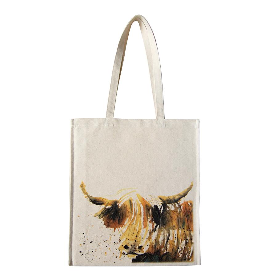 Highland cow bag British design tote canvas shopper