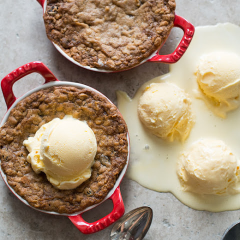 Deep-Dish Oatmeal Raisin Cookies with Ice Cream