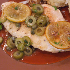 Sauteed Chicken with Olives, Capers and Roasted Lemons