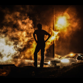 Smoky night by Samaneethi Krishnan - People Street & Candids ( silhouette, night, candid, light, smoke,  )