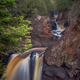 Upper Falls of the Cascade by Gary Hanson - Nature Up Close Trees & Bushes ( content, root beer water, minnesota, iron ore, falls, north shore, upper falls, cascade river )