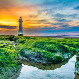 Twighlights by Marek Saj - Landscapes Sunsets & Sunrises ( water, clouds, sky, sunset, lighthouse, beach, rocks, coast, colours, beutifu,  )